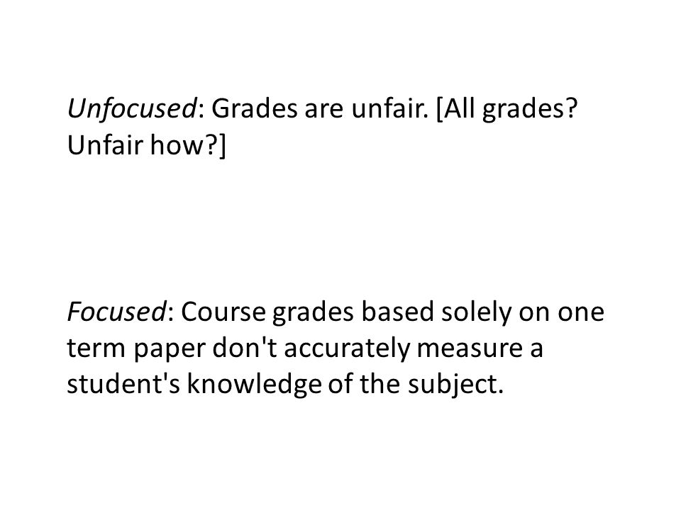 Unfocused: Grades are unfair. [All grades Unfair how ]